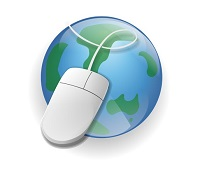 computer mouse on a globe